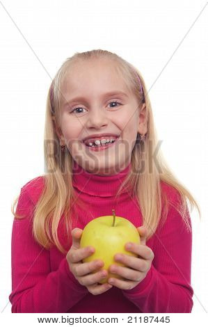 Laughing Teenage Girl With The Yellow Apple In The Hands