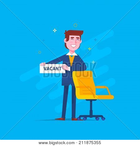 Office chair with vacancy sign.Business hiring and recruitment concept.Vector illustration. Flat style design
