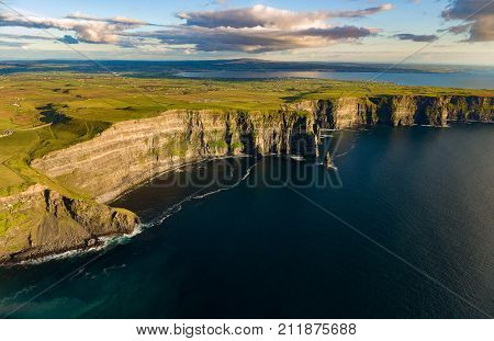 Spectacular Ireland Scenic Rural Nature Landscape From The Cliffs Of Moher In County Clare, Ireland.