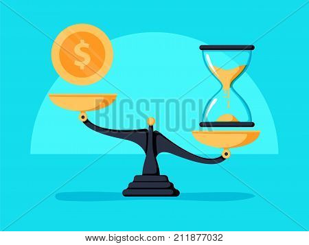 Time Is Money Concept. Clok And Money Symbols On Scale. Vector Illustration.