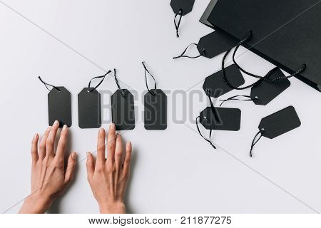 Female Hands And Blank Labels