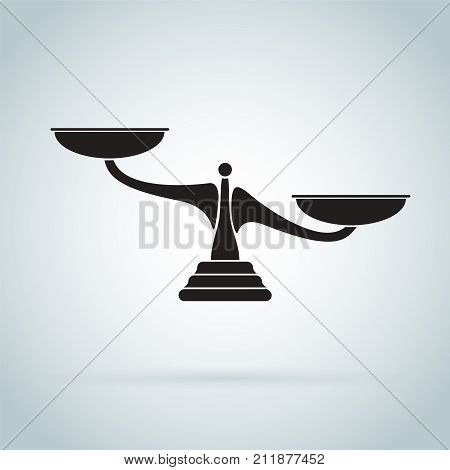 Scales Icon. Vector Black Scale Silhouette Illustration.