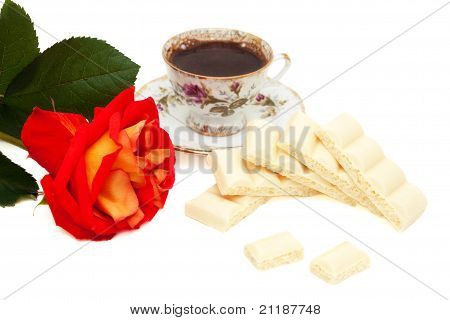White Chocolate, Rose And A Cup Of Coffee