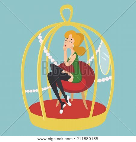 woman in gold cage - funny cartoon vector illustration of person choosing material benefits
