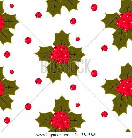 Christmas holly berries seamless pattern stock vector