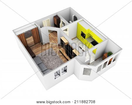 Interior Apartment Roofless Perspective View Apartment Layout Without Shadow On White Background 3D