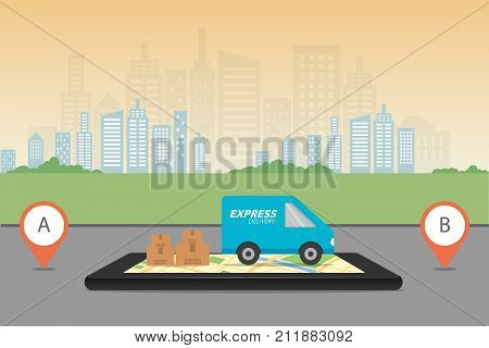 Express Delivery Concept. Checking Delivery Service App On Mobile Phone. Delivery Van With Cardboard