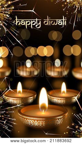 Happy Diwali Indian Festival Lights Greeting Card Vector Gold Candle Light