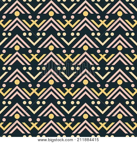 Abstract seamless pattern of different sized V shaped geometric elements and circles. Vector print in blue-black, yellow, dusty pink colors