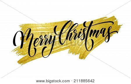 Merry Christmas winter holiday greeting card. Vector calligraphy hand drawn font lettering on white and gold brush paint stroke background for Christmas or New Year and Xmas celebration wish postcard