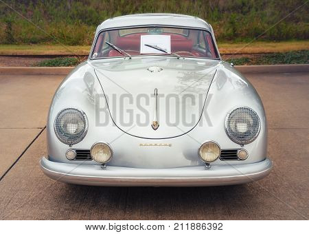Westlake Texas - October 21 2017: A front view of a silver color 1955 Porsche Continental Coupe classic car.