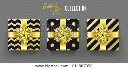 Christmas Gift Box Golden Bow Ribbon Vector Wrappign Pattern New Year Greeting