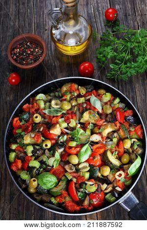 Tasty Caponata With Vegetables On Skillet