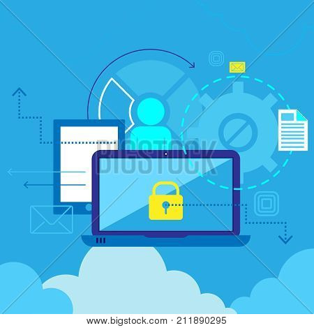 Computer communications safety and private data protection. Flat composition , poster with antivirus . Software symbol. Abstract vector illustration.