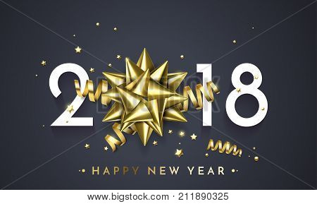 2018 New Year Greeting Card Vector Golden Decoration Gift New Year Background
