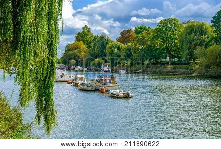 Moored boats on the river Thames in summer on a overcast day, Richmond London U.K poster