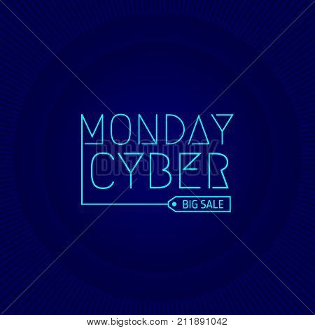 Banner Cyber monday sale holiday . Vector illustration . Cyber monday big sale advertising.