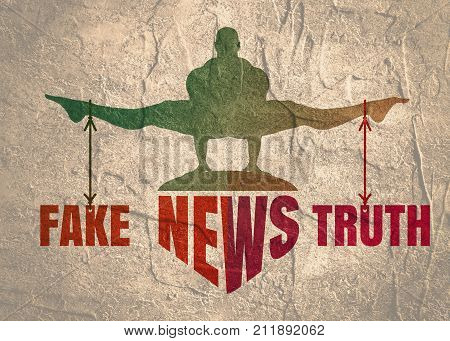 Balance between Fake and Truth. Silhouette of a man tied with the words. Fake news banner background. Grunge concrete texture