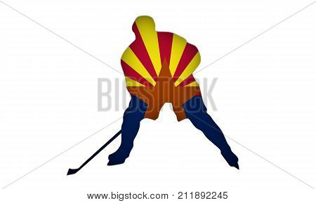 Professional hockey player cutout silhouette. Flag of the Arizona on backdrop. 3D rendering