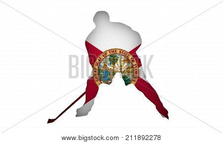 Professional hockey player cutout silhouette. Flag of the Florida backdrop. 3D rendering