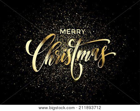 Merry Christmas Greeting Card Vector Golden Confetti Glitter Black New Year Background