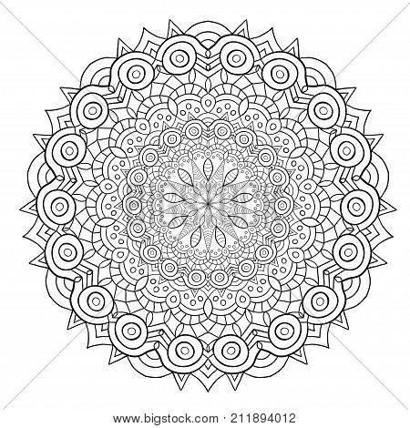 Unique mandala design. Ornamental pattern for coloring book pages. For henna tattoo design
