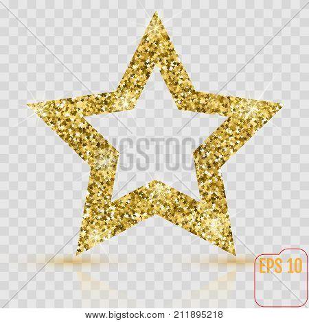 Golden Glitter Star Of Many Small Stars Vector Banner On White B