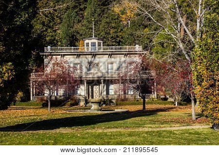 Vintage Two Story Building In Fall Season