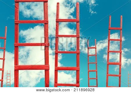 Red Wooden Stairway to Heaven. Road To Success. Achievement Of Goals Career Concept