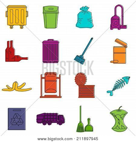 Garbage thing icons set. Doodle illustration of vector icons isolated on white background for any web design