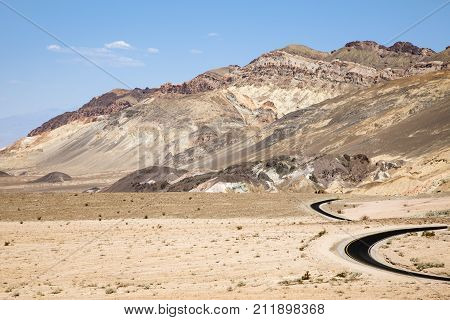 A winding road running through Death valley in California