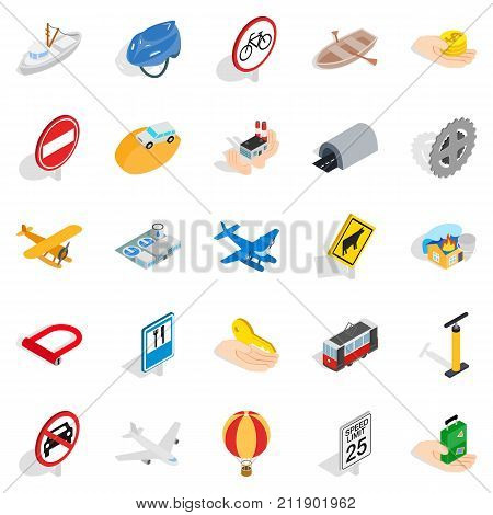 Movement icons set. Isometric set of 25 movement vector icons for web isolated on white background