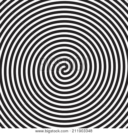 Hypnotic Circles Abstract White Black Vector Spiral Swirl Optical Illusion Pattern Background