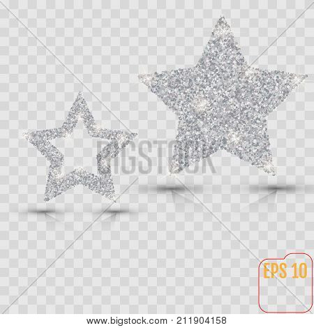 Silver Star Vector Banner. Silver Glitter . Template , Card, Vip