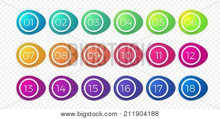 Number Bullet Point Flat Color Gradient Web Button Isolated Vector Circle Icons