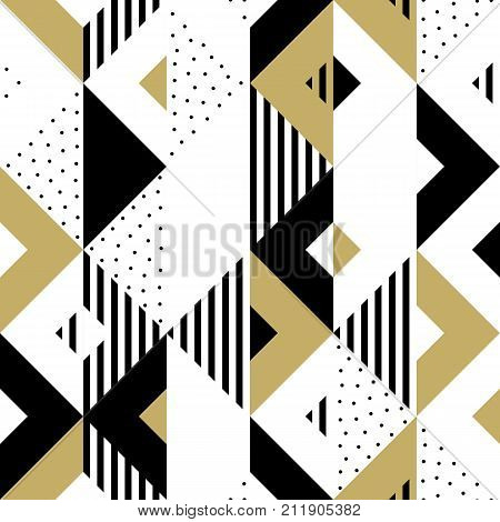 Abstract Pattern Golden Geometric Ornament Gold Triangle Square Vector Background