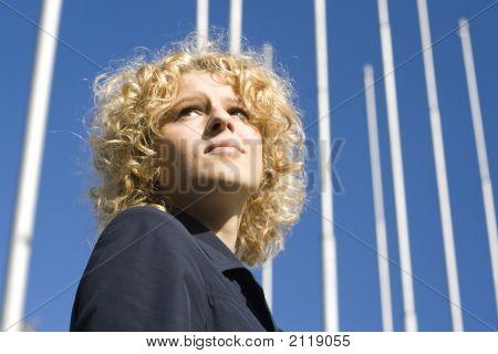 Women Looks Upwards