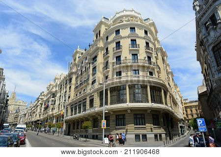 MADRID - JUN. 6, 2013: Hotel ADA Palace is a famous Beaux-Arts style landmark of City of Madrid. It located at the corner of the Calle de Alcala and Gran Via, Madrid, Spain.