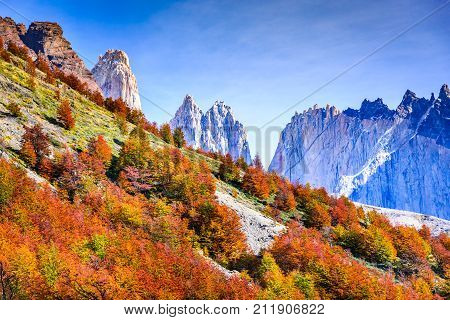 Patagonia Chile - Torres del Paine (2850 m) and Monte Almirante Nieto (2640 m). Cordillera Paine Magelanes Regioon South America.