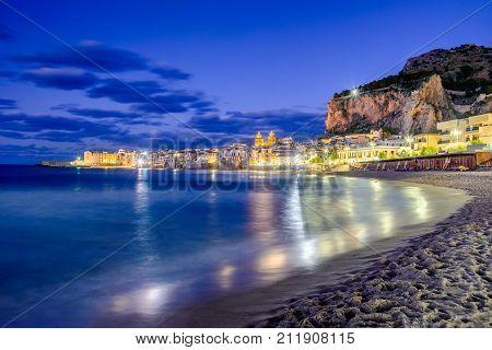 Cefalu Sicily. Ligurian Sea and medieval sicilian city Cefalu. Province of Palermo Italy.