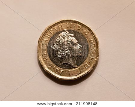 Close Up Of Brand New One Pound Coin Uk Sterling Queen's Head