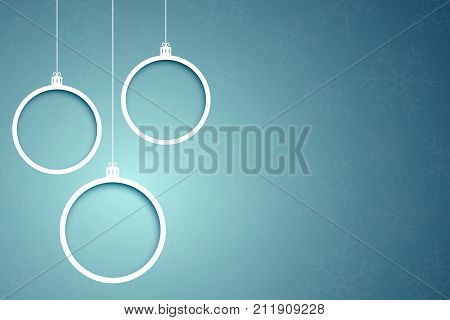 Paper Christmas balls. Paper clippings. Abstract Christmas banners. Snowflakes on a blue background. Vector illustration
