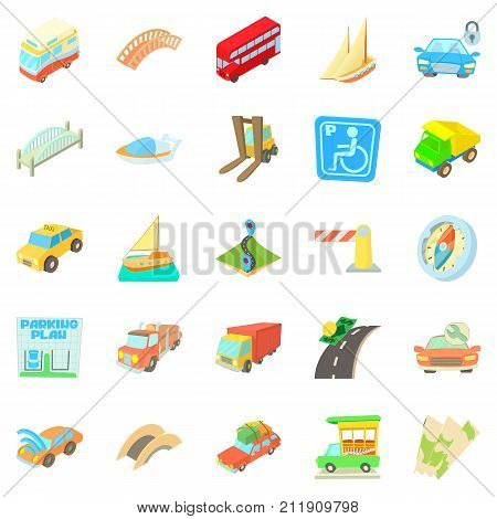 Excellent route icons set. Cartoon set of 25 excellent route vector icons for web isolated on white background