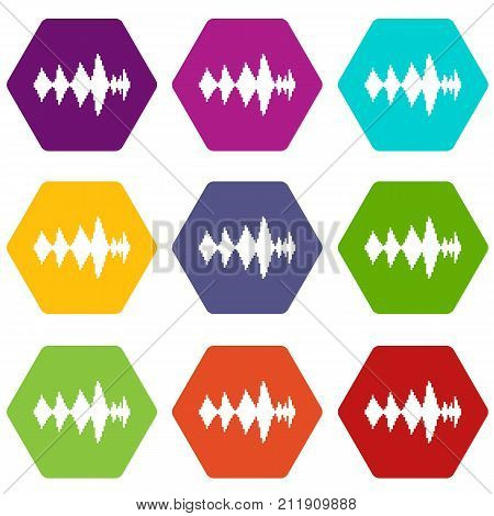 Audio digital equalizer technology icon set many color hexahedron isolated on white vector illustration