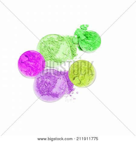 Multi color eye shadow isolated on white background