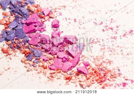 Crushed eyeshadow Cosmetic Powder . Various set isolated on white background. The concept of fashion and beauty industry. Abstract place for text texture mineral makeup