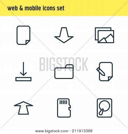 Editable Pack Of Upward, Memory, Gallery And Other Elements.  Vector Illustration Of 9 Memory Icons.