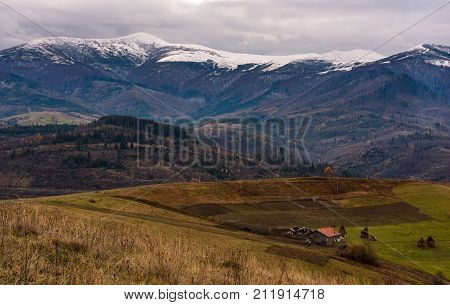 Rural Area In Snowy Alpine Mountains