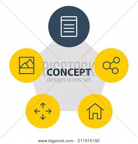 Editable Pack Of Picture, Document, Share And Other Elements.  Vector Illustration Of 5 App Icons.