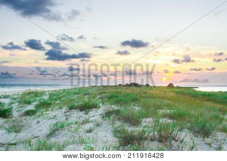 Sandy Empty Sea Coast Seaview, Cloudy Colorful Sunrise Sky View